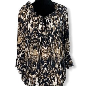 Worthington Women Black Print Elbow Length sz 1X
